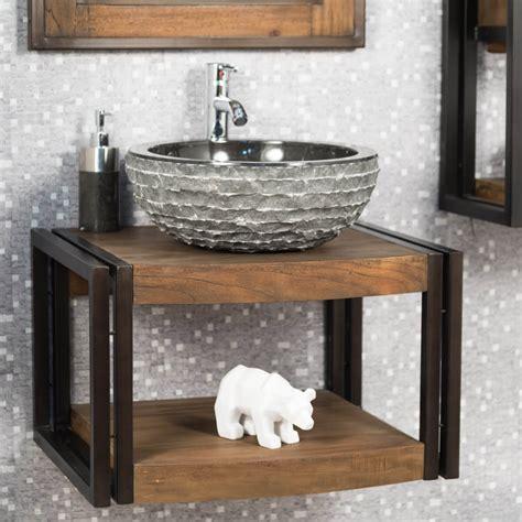 meuble sous vasque simple vasque suspendu en bois teck massif el 233 gance naturel l 60 cm