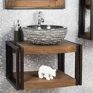 Meuble sous vasque simple vasque suspendu en bois teck for Meuble salle de bain bois 60 cm