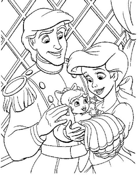 Kleurplaat Ariel Eric by Small Family Of Eric And Ariel Coloring Pages