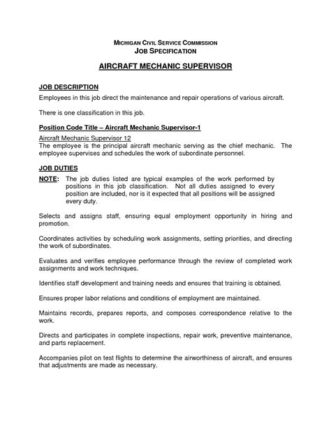 Aircraft Mechanic Description Resume by Cover Letter Aviation Technician Sle Resume Resume Daily