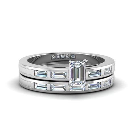 emerald cut bar baguette simple wedding ring in 14k white gold fascinating diamonds