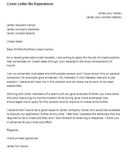 cover letter template  experience  cover letter