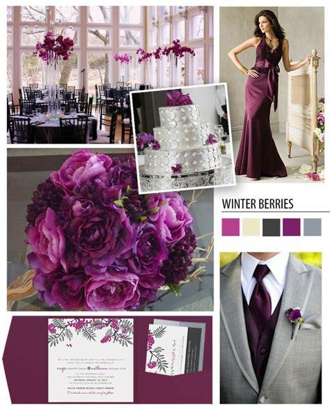 Plum And Gray Wedding  Greyplum Color Theme Flowers
