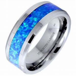 Mens Tungsten Carbide Blue Green Opal Engagement Ring