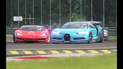 battle bugatti chiron  lamborghini centenario racing
