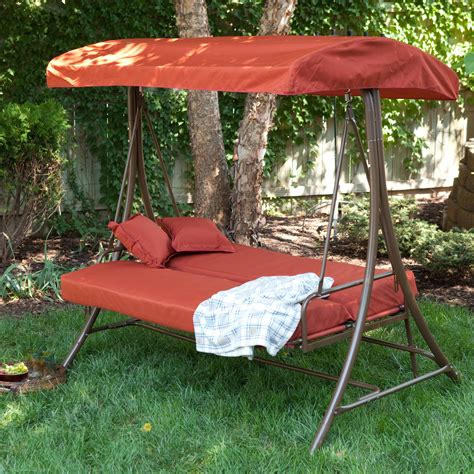 canapé swing coral coast siesta 3 person canopy swing bed terra cotta