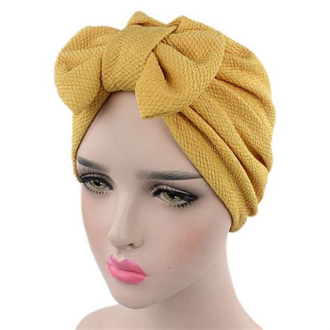women lady bow bonnet chemo hijab turban cap beanie hat
