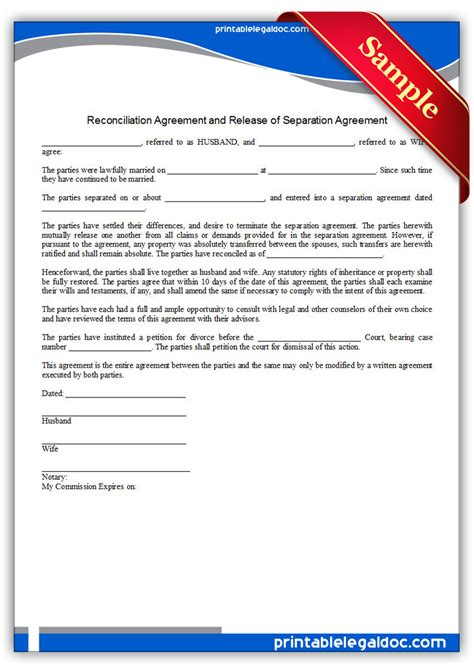 Free Printable Reconciliation Agreement Form (generic
