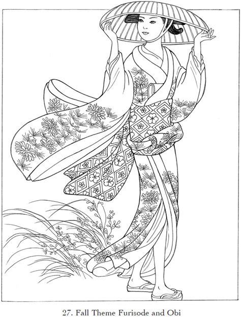 childhood education japanese kimono coloring pictures