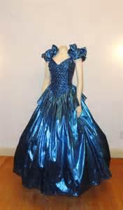 eighties prom vintage gown metallic blue 70s 80s by 2sweet4wordsvintage