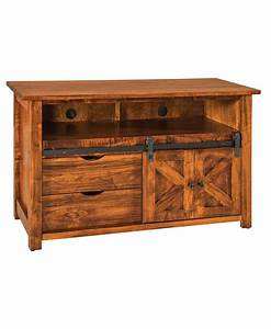 teton tv stand with sliding barn wood door amish direct With barn door hardware for tv stand