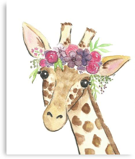quot giraffe flower crown watercolor quot canvas prints by christierenfro redbubble