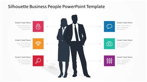 silhouette business people powerpoint template pslides