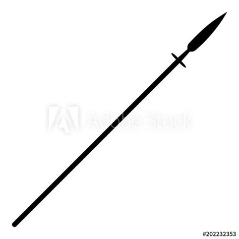 simple flat black spear silhouette isolated  white