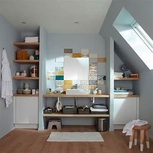 Carreaux Adhesif Salle De Bain : petite salle de bain hyper bien am nag e deco cool ~ Melissatoandfro.com Idées de Décoration