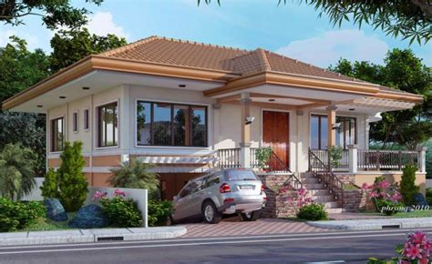 This one storey house design concept is an elevated