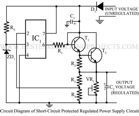 Sort Circuit Protected Regulated Power Supply Using