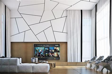 desain dinding bertekstur  ruang tamu sandimas