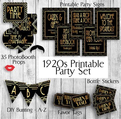 printable gatsby themed 1920s set props tags x 2 bottle stic pixels and pine printables