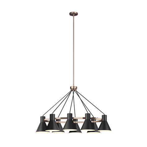 sea gull lighting towner 8 light satin bronze pendant with led bulbs 6641308en3 848 the home depot