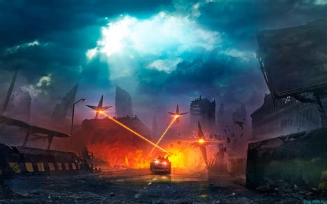 apocalyptic, Futuristic, Lasers, Road, Car Wallpapers HD ...