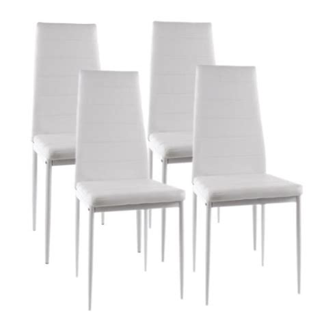 lot de 4 chaises blanches vogue lot de 4 chaises de salle 224 manger blanches achat vente chaise salle a manger pas cher