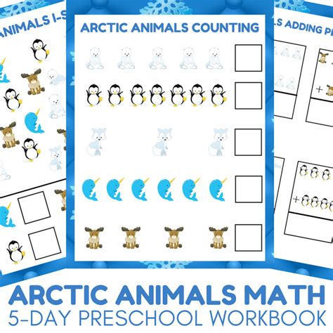 arctic animals preschool math learning packet autistic 857 | Arctic Animals Math 5 day Preschool Math Workbook for Arctic Animal Unit Studies