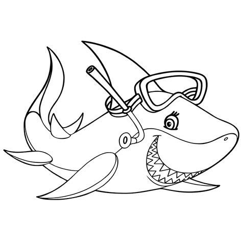 Haai Kleurplaat by Leuk Voor Een Haai Met Een Duikbril
