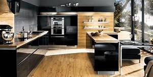 cuisine bois et noire photo 5 25 un melange esthetique With cuisine noire et bois