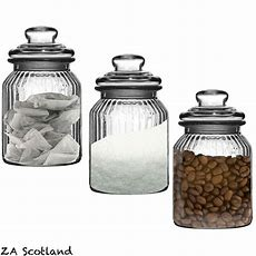 Set Of 3 Ribbed Glass Kitchen Food Spices Candy Storage