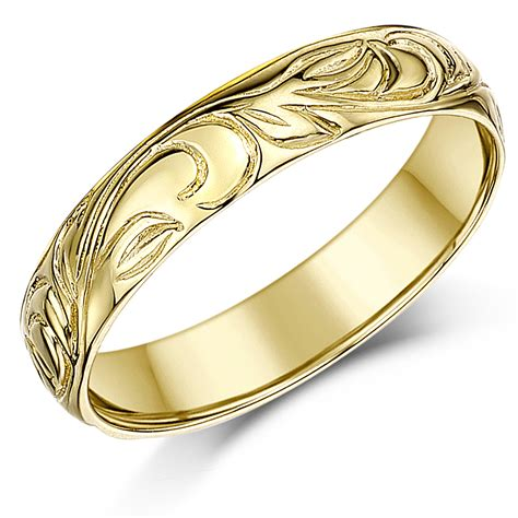 4mm 9ct yellow gold swirl patterned wedding ring band yellow gold at elma uk jewellery