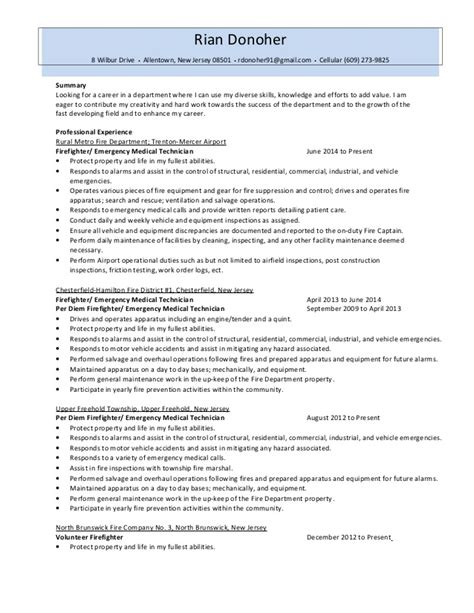 Firefighter Resume Summary by Firefighter Resume 2014