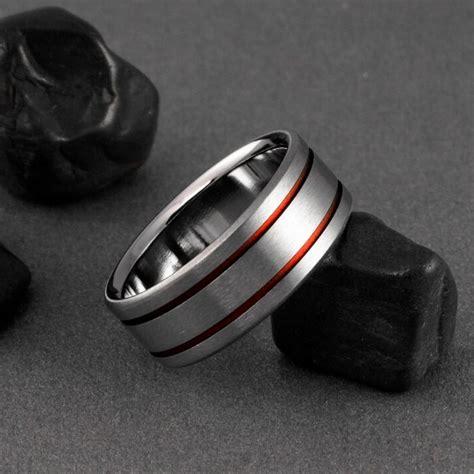 titanium wedding ring pinstripe titanium band unique titanium ring custom band