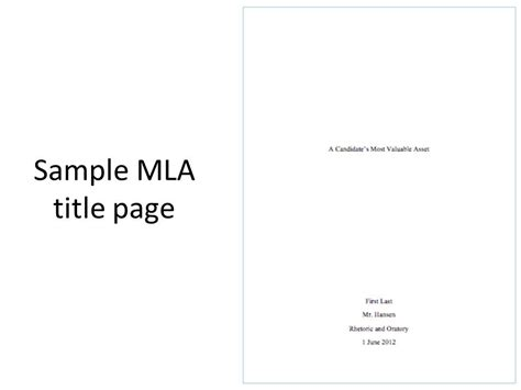 Mla Title Page