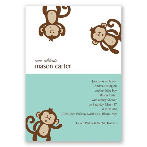 monkey business baby shower invitation invitations  dawn