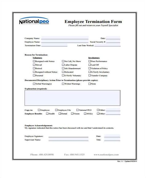 Termination Of Employment Form Template by Employment Form Templates