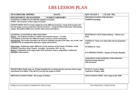 Lesson Plan On The Structure Of League Of Nations By Geo