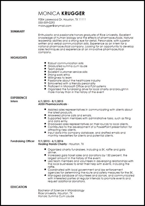 pharmaceutical sales resume entry level
