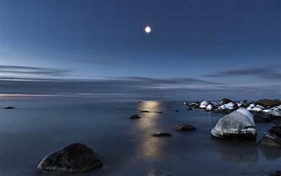 Water Reflection Moon Sea Wallpaperup Rocks