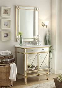 bathroom vanity mirrors Adelina 32 inch Mirrored Gold Bathroom Vanity & Mirror