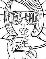 Coloring Taco Bell Tacobell Tacos sketch template