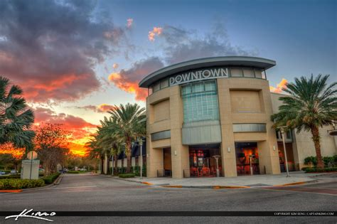 downtown at the gardens during sunset royal stock photo