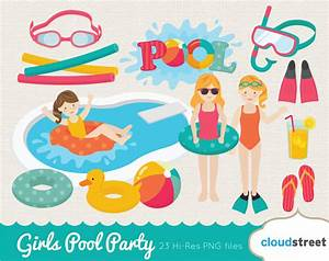 20% OFF girls pool party clip art / pool clipart / girl pool