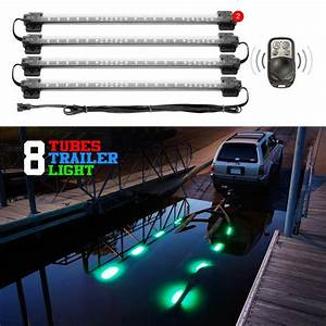 8pc Boat Trailer Loading Light Waterproof Multi Color   Pattern Remote Control
