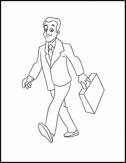 Coloring Walking Pages Business Person Drawing Strong