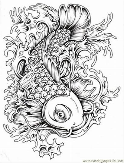 Coloring Koi Pages Japanese Popular