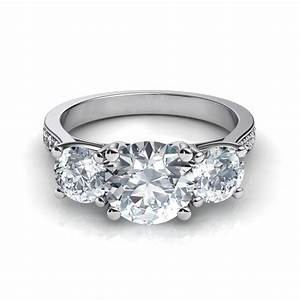 Three stone trellis engagement ring with pave diamonds for Dimond wedding ring