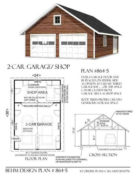 2 car attic roof garage with shop plans 864 5 by behm
