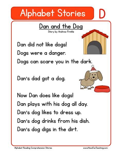 Alphabet Stories  D  Reading Comprehension Worksheet  Have Fun Teaching
