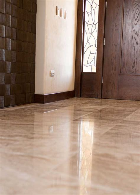 Caramel travertine floor tile from Mexico features shades